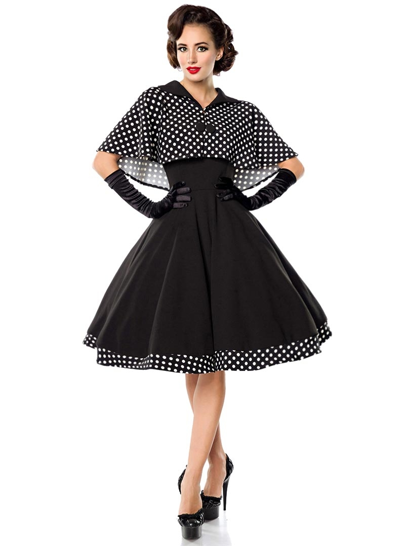 a7ef355a457 Robe + Cape Retro Rockabilly Pin-Up Années 50 Belsira