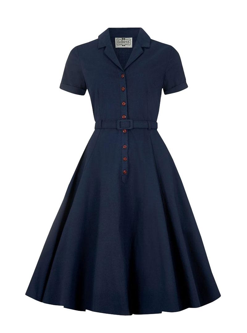 Robe Bleu Vintage Rockabilly Retro Collectif Caterina Blue Rockangehell Com