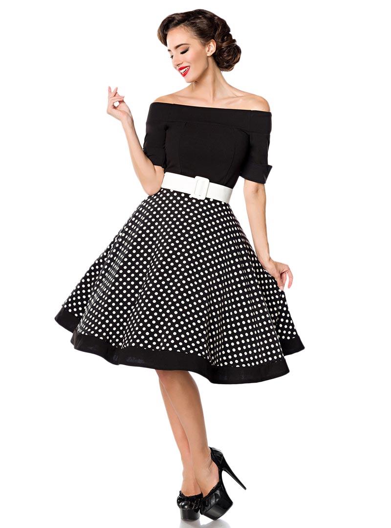 robe rockabilly pin up retro ann es 50 belsira black white dots. Black Bedroom Furniture Sets. Home Design Ideas