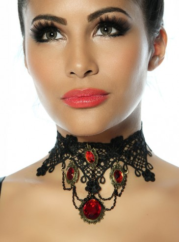 Collier ras du cou Gothique Lolita Red Stones