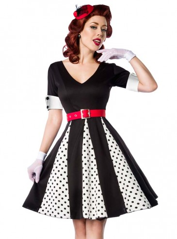 "Robe Retro Vintage Pin-Up Belsira ""White Black Dots"""