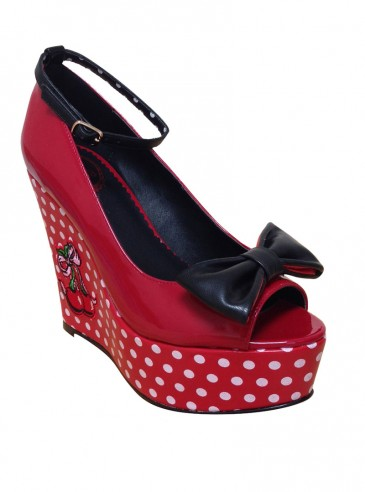 """Chaussures Ouvertes Pin-Up Rockabilly Vintage Banned """"Red Cherry"""""""