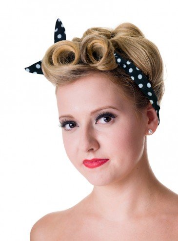 "Foulard Cheveux Rockabilly Vintage Retro Banned ""Black White Dots"""