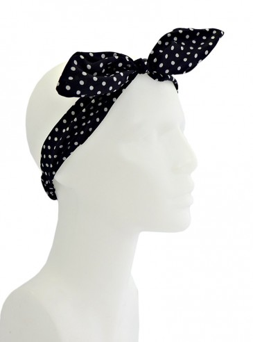 """Foulard Cheveux Rockabilly Pin-Up Années 50 Banned """"Black White Small Dots"""""""