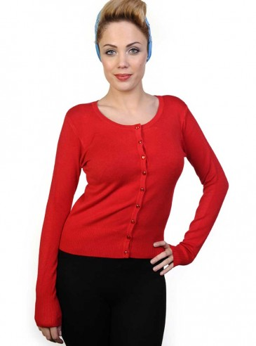 "Gilet Cardigan Rockabilly Gothique Banned ""Just Red"""