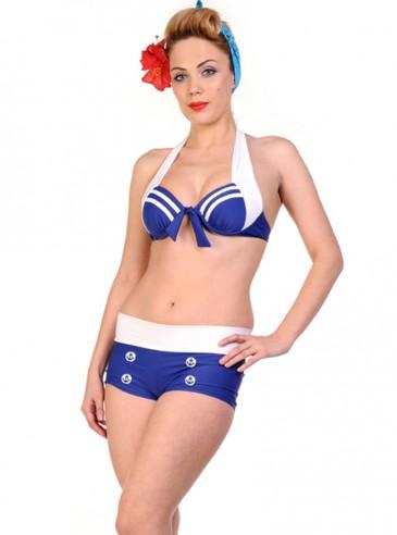 "Maillot de bain 2 pièces Bikini Retro Vintage Rockabilly Pin-Up Banned ""Anchor"""