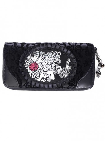"""Portefeuille Gothique Banned """"Ivy Black Cameo"""""""