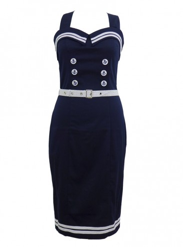 "Robe Sailor Rockabilly Rétro Pin Up Banned ""Blue Navy"""