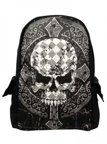"Sac à dos rock gothique Banned ""Skull&Cross"""