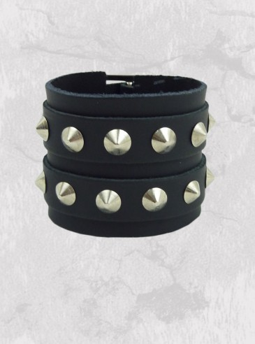 "Bracelet Cuir rock punk ""Conical"""
