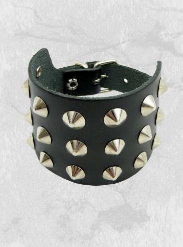 """Bracelet de force Cuir rock punk """"3 Conical"""""""