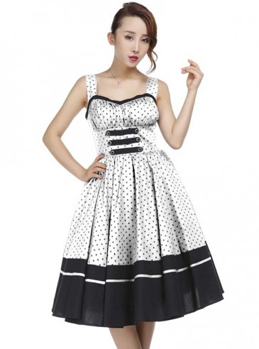 "Robe Rockabilly Vintage Retro Chicstar ""White Black Dots"""