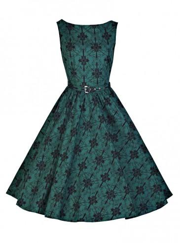 "Robe Années 50 Rockabilly Vintage Chicstar ""Audrey Green Brocart"""