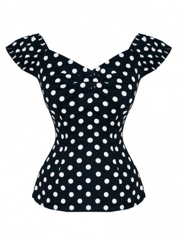 """Tee-shirt Pin-Up Rockabilly Vintage Collectif """"Dolores Black White Dots"""""""