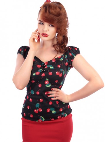 """Tee-shirt Pin-Up Rockabilly Années 50 Collectif """"Dolores Cherry"""""""