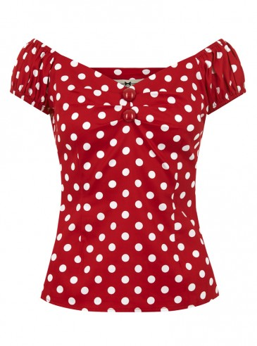 """Tee-shirt Pin-Up Rockabilly Retro Collectif """"Dolores Red White Dots"""""""