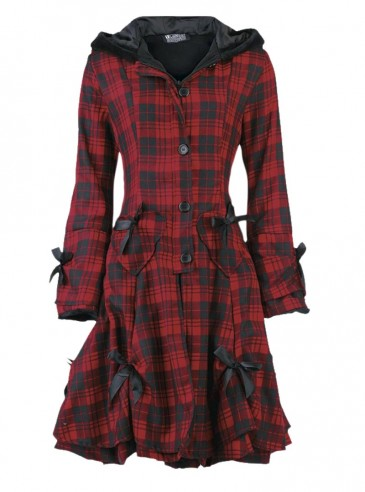 "Manteau Punk Gothique Poizen Industries (Evil Clothing) ""Alice Tartan"""