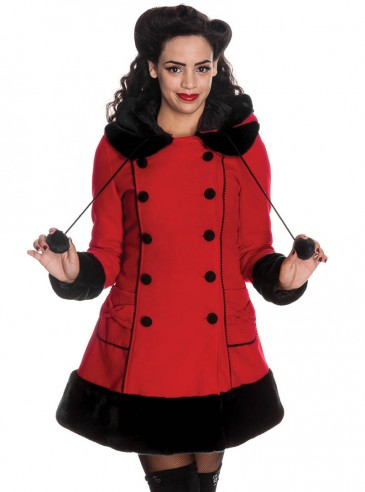 "Manteau Rouge Gothique Rockabilly Lolita Hell Bunny ""Sarah Jane"""