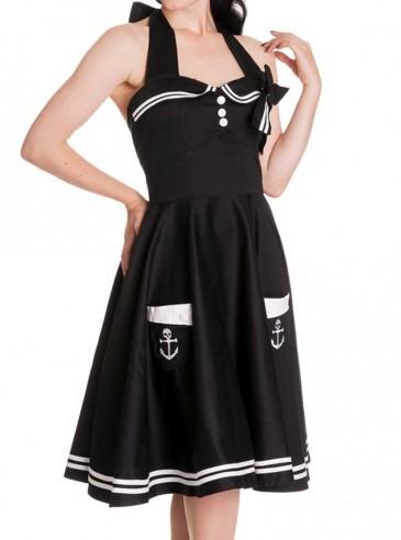 "Robe Sailor Rockabilly Vintage Années 50' Hell Bunny ""Black Motley"""