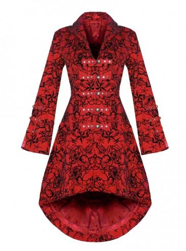 "Manteau gothique rockabilly HR London ""Red Flocking"""