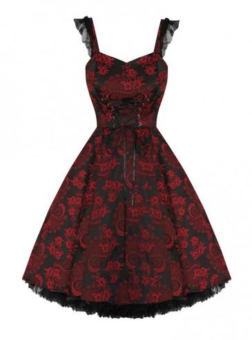 """Robe vintage HR London """"Black Red Brocade"""""""