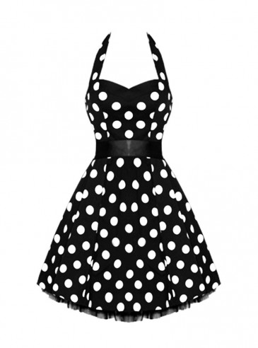 "Robe courte Rockabilly Vintage HR London ""Big White Dot"""
