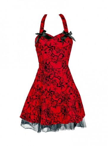 "Robe rockabilly vintage HR London ""Red Flocking Mini Dress"""