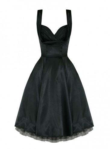"Robe Pin-UP Rockabilly Vintage Satin noir HR London ""Black Satin"""