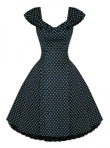 "Robe rockabilly pin-up HR London ""Black White Small Dot"""
