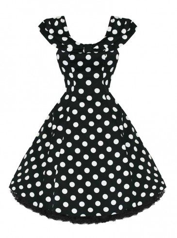 "Robe Rockabilly Vintage Années 50 HR London ""Black White Big Dot"""