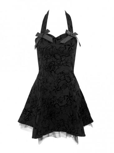 "Robe rockabilly gothique HR London ""Black Flocking Mini Dress"""