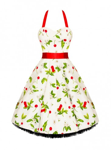 "Robe Rockabilly Vintage Retro HR London ""White Red Cherry"""