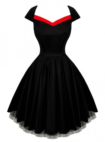 "Robe Rockabilly Gothique HR London ""Red Strip"""