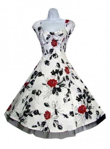"Robe Vintage Retro Rockabilly HR London ""White Black Red Floral"""