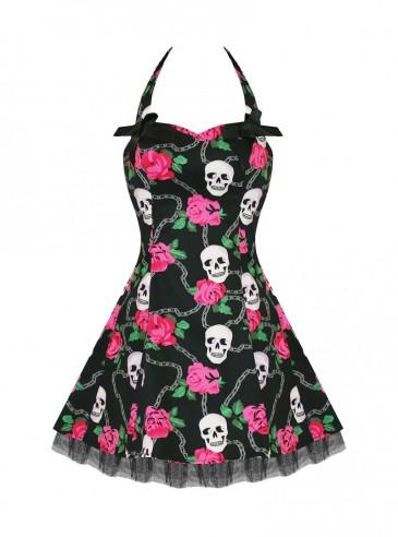 "Robe courte Rockabilly Gothique HR London ""Skully Pink Roses"""