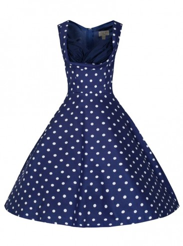 "Robe Pin-up Rockabilly Vintage Lindy Bop ""Ophelia Blue White Dots"""