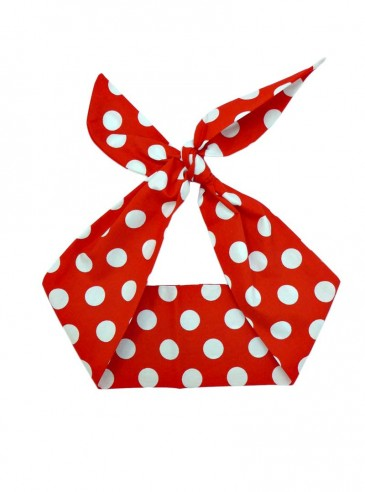 """Foulard Cheveux Pin-Up Rockabilly Retro Rock Ange'Hell """"Red Big White Dots"""""""
