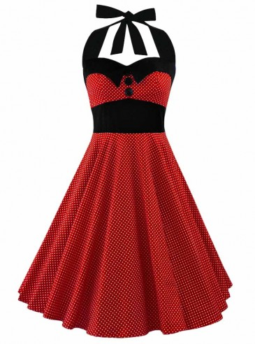 """Robe Pin-Up Rockabilly Années 50 Rock Ange'Hell """"Ashley Red White mini polka dots"""""""