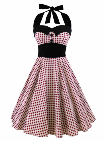 """Robe Pin-Up Années 50 Rockabilly Rock Ange'Hell """"Ashley Red Vichy"""""""