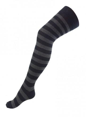 Chaussettes Montantes Punk Rock larges rayures gris/noir