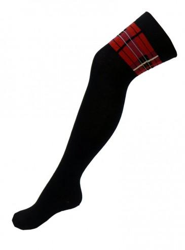 """Chaussettes Hautes punk écossaises Macahel """"Black & Red Tartan"""""""