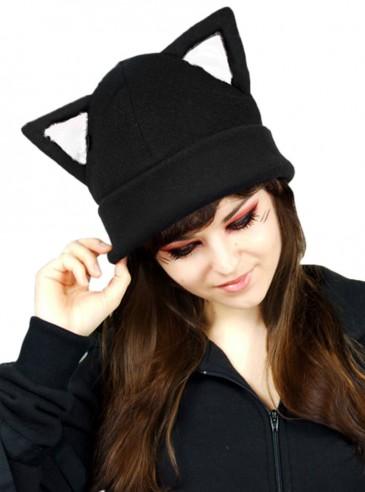 """Bonnet Chat Rock Gothique Kawaii """"White Ears Cat"""""""