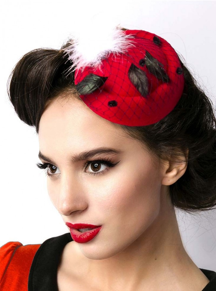 "Barrette Cheveux Chapeau Rockabilly Retro ""Red Hat"""