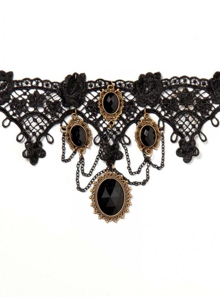 Collier ras du cou Lolita Gothique Black Stones