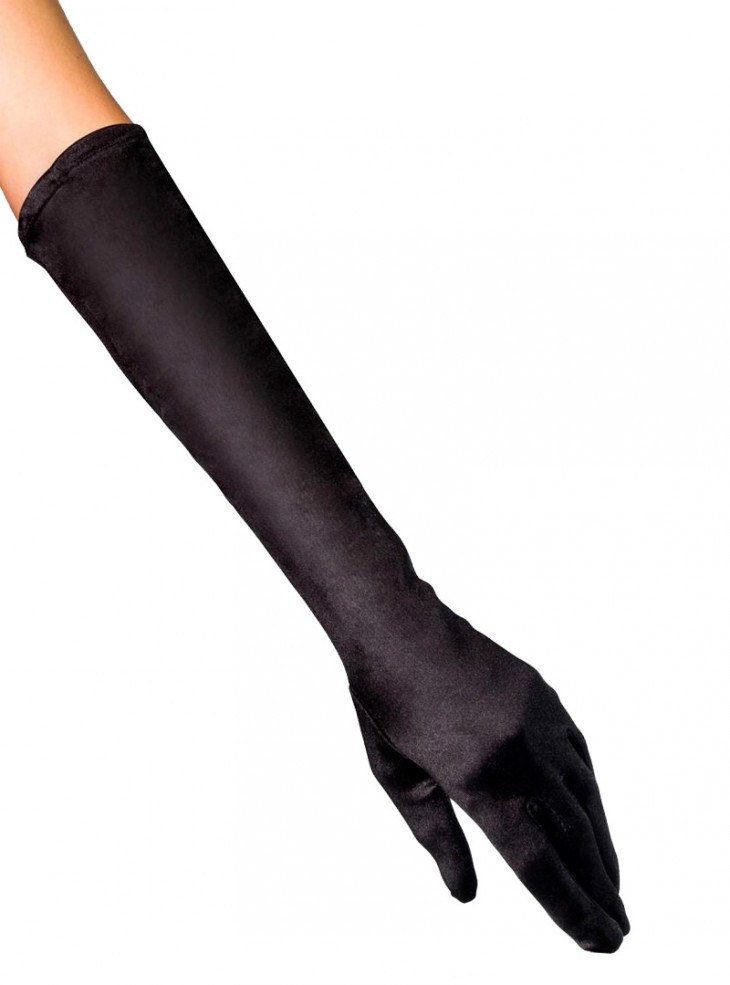 "Gants mi-longs Satin Noir Rockabilly Pin-Up Retro Années 50 ""Glamour Gloves"""
