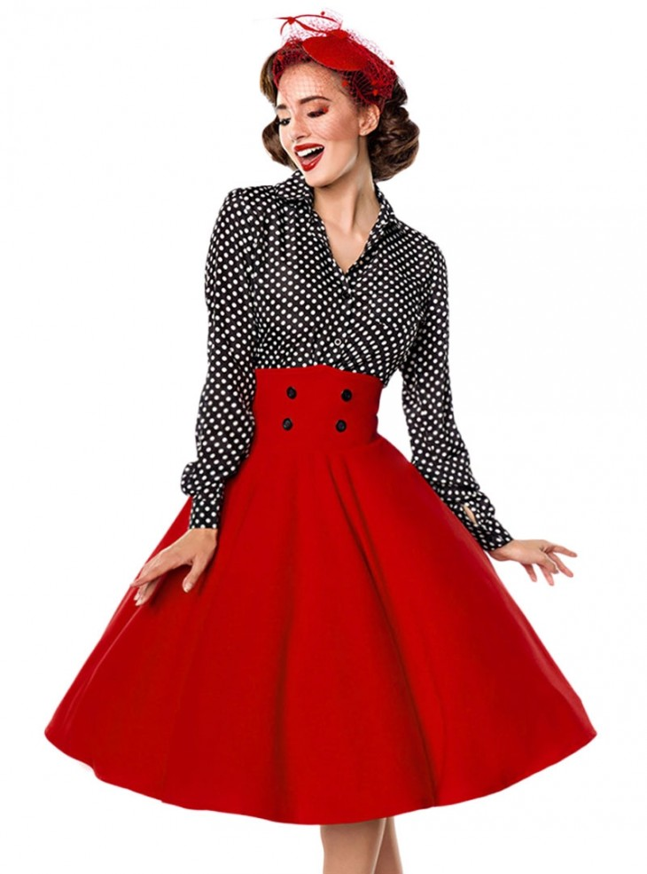 "Jupe Années 50 Pin-Up Rockabilly Retro Belsira ""Bella Red"""