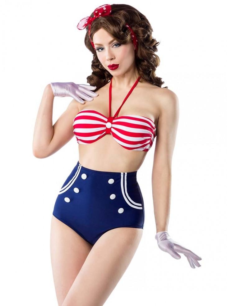 """Maillot de bain 2 pièces Bikini Rockabilly Sailor Retro Pin-Up Belsira """"Marina"""""""