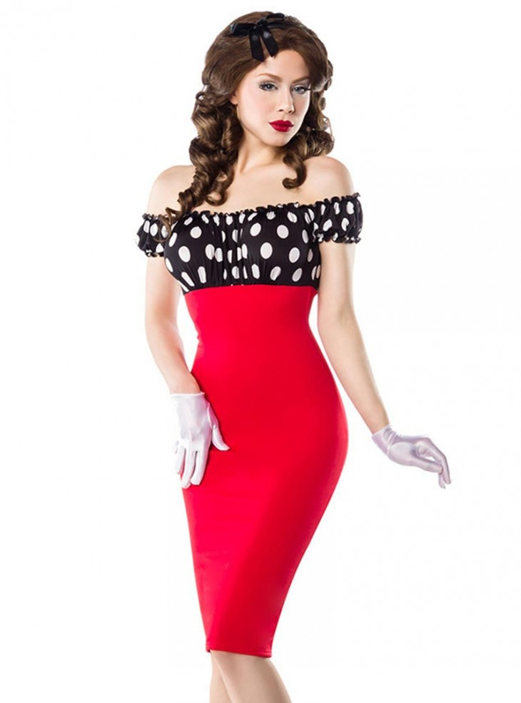 "Robe Pin-Up Rockabilly Vintage Belsira ""Pencil Red Black White Dots"""