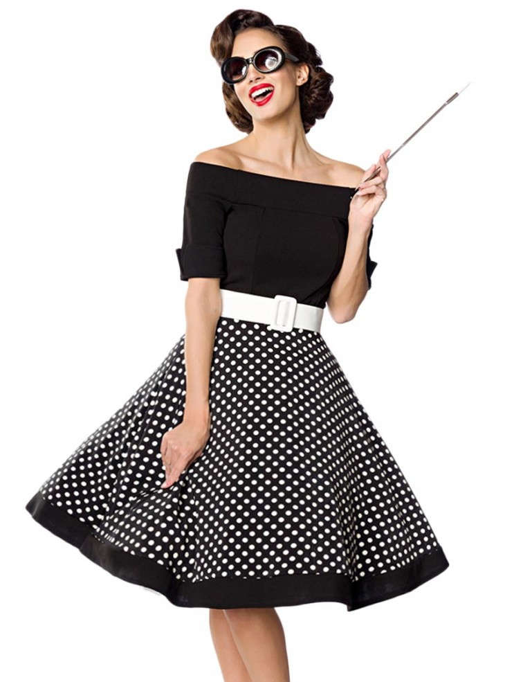 robe rockabilly pin up retro ann es 50 belsira black white dots. Black Bedroom Furniture Sets. Home Design Ideas