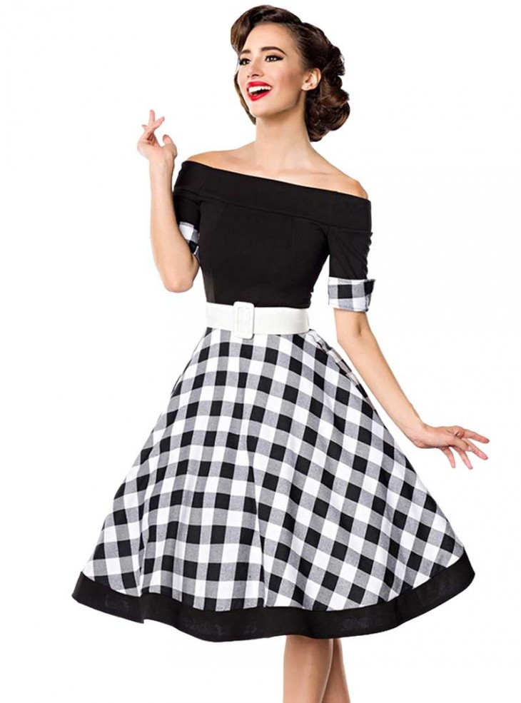 "Robe Pin-Up Années 50 Rockabilly Retro Belsira ""Black Vichy"""